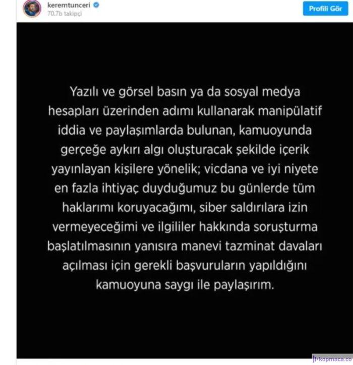 Kerem Tunçeri ifşa için ne açıklama yaptı?
